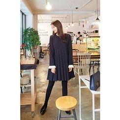 CHERRYKOKO - Contrast-Trim High-Waist Pleat Dress