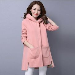 Pecora - Plain Hooded Long Jacket