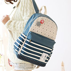 Canvas Love - Striped & Anchor Print Canvas Backpack