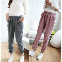 Whitney's Shop - Corduroy Loose-fit Tapered Pants