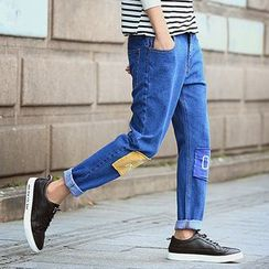 Danjieshi - Embroidered Patched Jeans