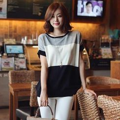 Stylementor - Short-Sleeve Color-Block Knit Top