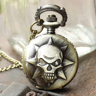 Miss Girl - Embossed Skull Pocket Watch