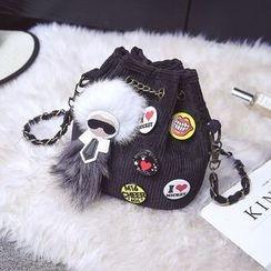 Rosanna Bags - Chain Strap Velvet Bucket Bag
