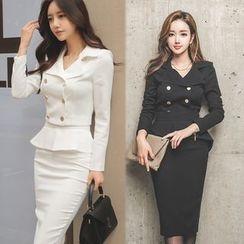 Dimanche - 套裝: 雙排扣外套 + 荷葉腰裙