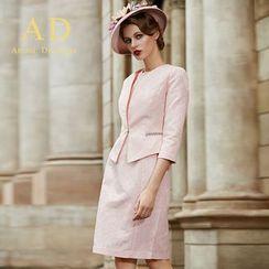 Aision - Set: Pleated Blazer + Pencil Skirt