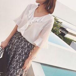 Eva Fashion - Ruffle Trim Bell-Sleeve Chiffon Blouse