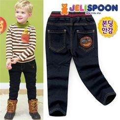 JELISPOON - Boys Appliqué Fleece-Lined Jeans