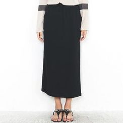 Beccgirl - Elastic-Waist Maxi Skirt