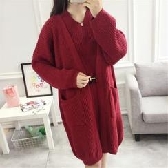 IndiGirl - Set: Sleeveless Wool Dress + Long Wool Cardigan