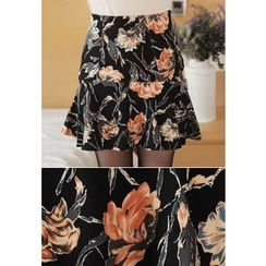 MyFiona - Ruffle-Hem Flower Patterned Mini Skirt