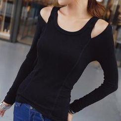 REDOPIN - Long-Sleeve Cutaway-Shoulder Round-Neck Top
