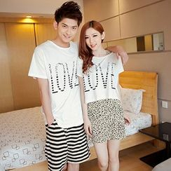 Tabula Rasa - Couple Matching Set: Letter Short-Sleeve T-shirt + Skirt / Shorts
