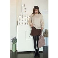 CHERRYKOKO - Round-Neck Drop-Shoulder Knit Top