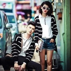 FULLHOPE - Striped Couple Matching Knit Cardigan