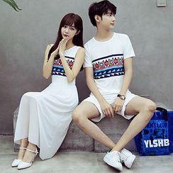 Tabula Rasa - Couple Matching Patterned T-shirt / Sleeveless Dress