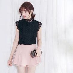 Tokyo Fashion - Lace Stand Collar Short-Sleeve Top