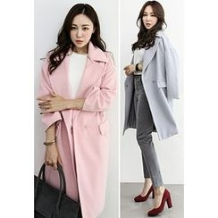 INSTYLEFIT - Wool Blend Snap-Button Coat