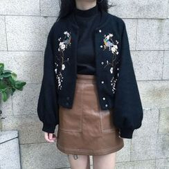 Alfie - Puff-Sleeve Embroidery Cropped Jacket