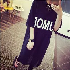 VIZZI - Lettering Elbow-Sleeve Long T-Shirt