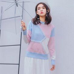 Clair Fashion - 韩版原宿风拼色圆领套头毛衣