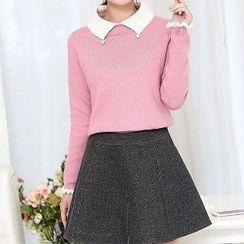 Romantica - Set: Contrast-Trim Wool Top + Plain A-Line Skirt