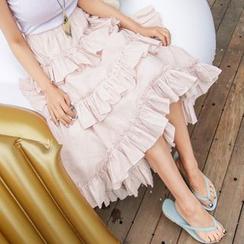 PPGIRL - Dip-Back Tiered Long Skirt