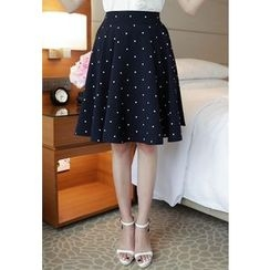 MyFiona - Dotted A-Line Midi Skirt