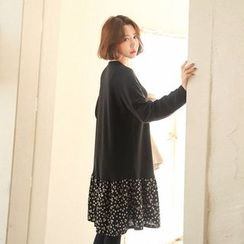 Seoul Fashion - Crew-Neck Floral-Hem T-Shirt Dress