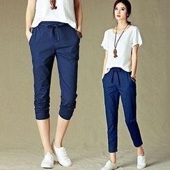 Yohana - Linen-blend Capri Pants