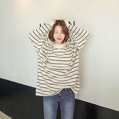 Seoul Fashion - Mock-Neck Stripe Brushed-Fleece Pullover