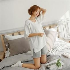 ZIZIBEZIRONG - U-Neck Short-Sleeve T-Shirt