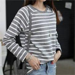 CHICFOX - Raglan-Sleeve Striped T-Shirt