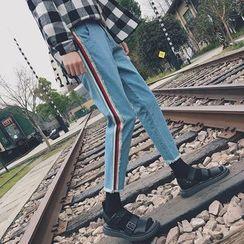 Besto - Cropped Striped Slim Fit Jeans
