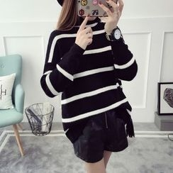 Qimi - Mock Neck Striped Sweater