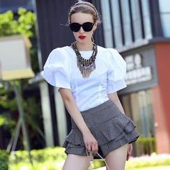歐依潮派 - 套裝: 燈籠袖上衣 + 搭層格子裙褲