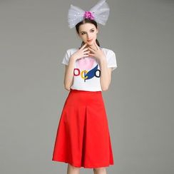 Cherry Dress - Set: Letter Short-Sleeve T-shirt + Capri Skirt