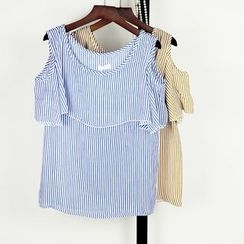 AIGIL - Cutout Shoulder Pinstriped Chiffon Top