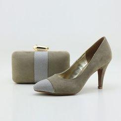 Bling Bag - 套装: 拼接高跟鞋 + 夹子边手包