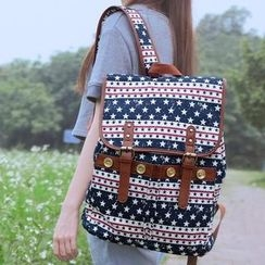 SUPER LOVER - Faux-Leather Trim Printed Canvas Backpack