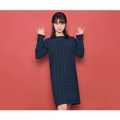 HOTPING - Zip-Back Checked Dress