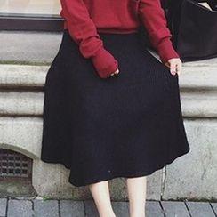 Bloombloom - Elastic Knit Midi Skirt