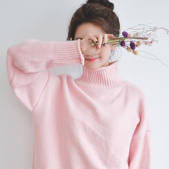 JUSTONE - Mock-Neck Drop-Shoulder Knit Top