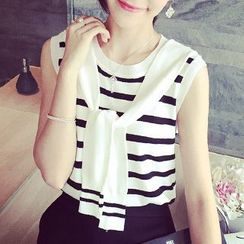 Coralie - Striped Knit Tie Front Tank Top