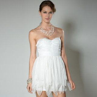 YesStyle Z - Strapless Textured Mini Prom Dress