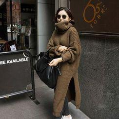 Sienne - Turtleneck Side-Slit Chunky Sweater Dress