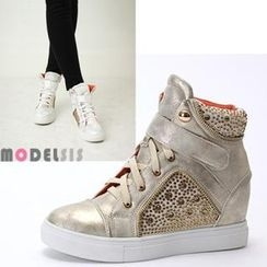 MODELSIS - Rhinestone High-Top Sneakers