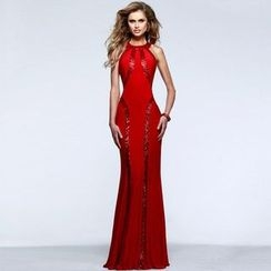 Dear Lover - Sleeveless Sequined Evening Gown