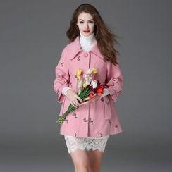 Elabo - Floral Embroidered Wool Blend Coat
