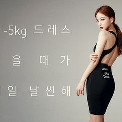 chuu - Sleeveless Open-Back Bodycon Dress